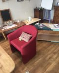 Fauteuil Dossier & assise rouge