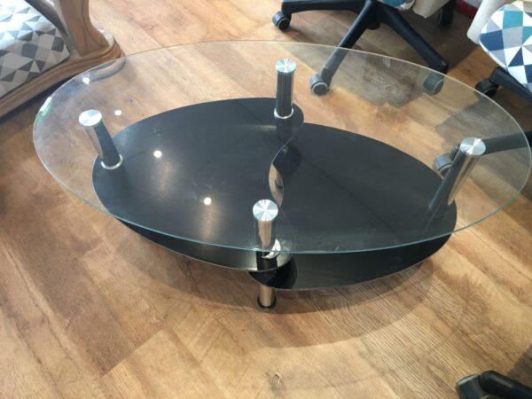 table basse en verre ovale